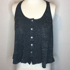 love on a hanger Tops - Dark grey /  white Lacey broom down crop top tank